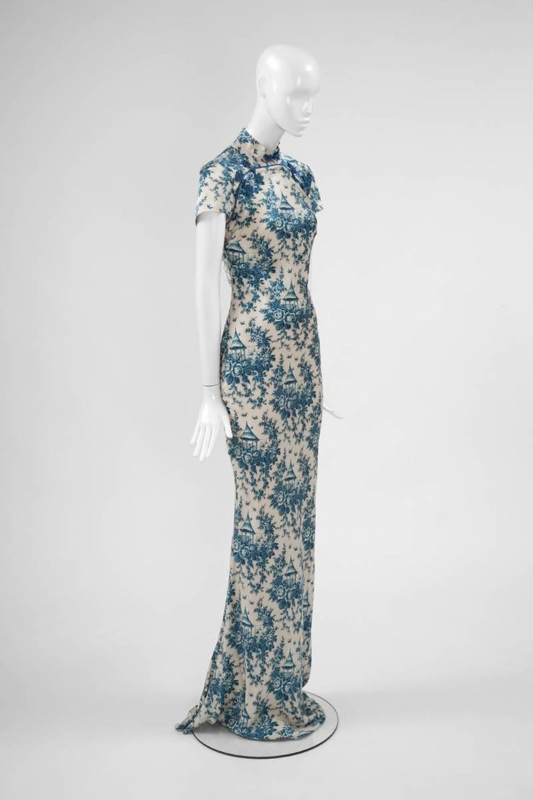"John Galliano ""Toile de Jouy"" Bias Cut Gown and Stole  For Sale 2"
