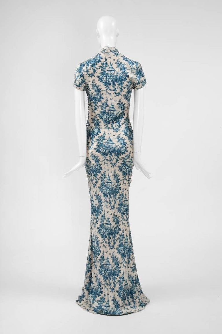 "John Galliano ""Toile de Jouy"" Bias Cut Gown and Stole  For Sale 4"