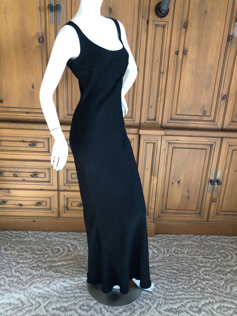 Women's John Galliano Vintage 1999 Bias Cut Wood Grain Pattern Black Evening Dress