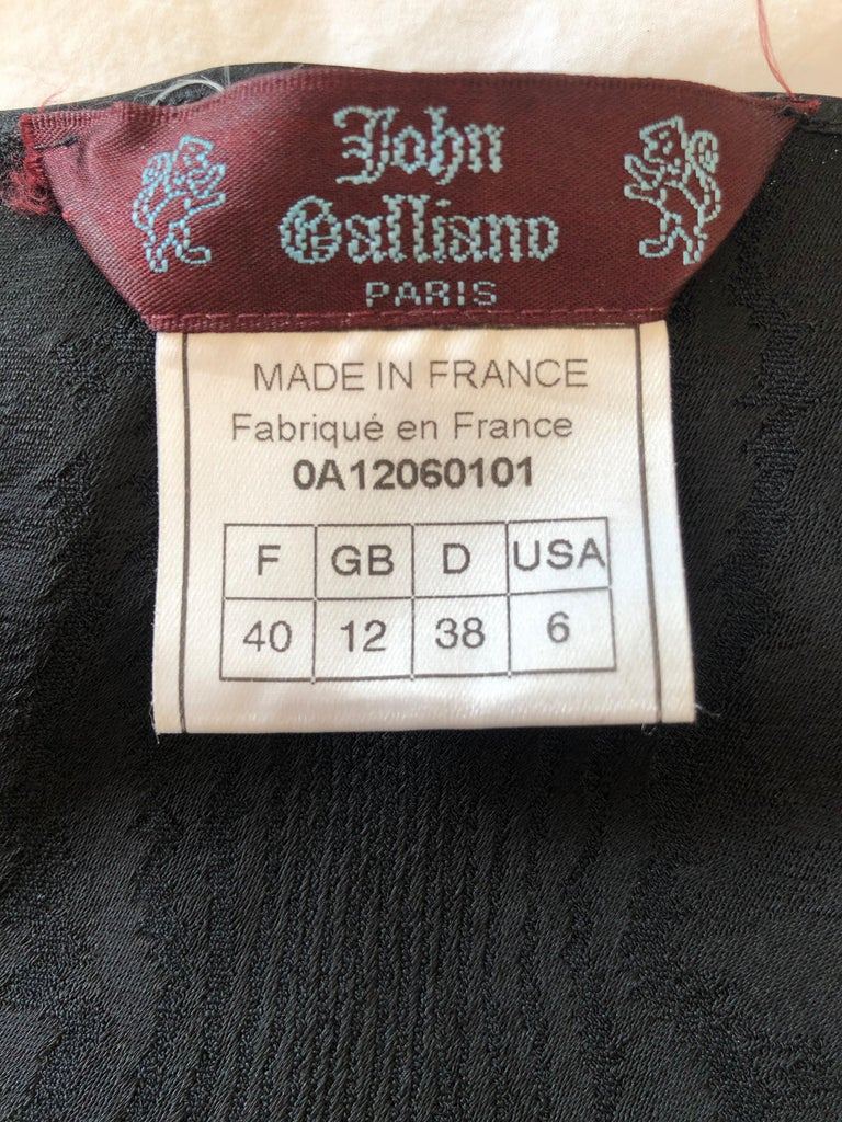 John Galliano Vintage 1999 Bias Cut Wood Grain Pattern Black Evening Dress 3