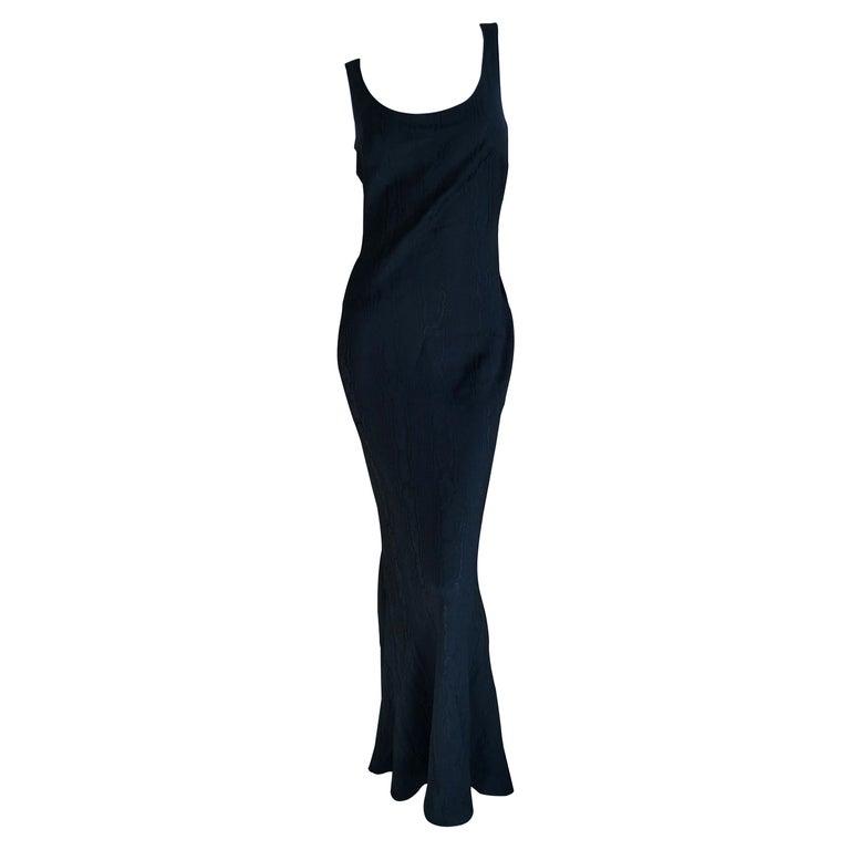 John Galliano Vintage 1999 Bias Cut Wood Grain Pattern Black Evening Dress