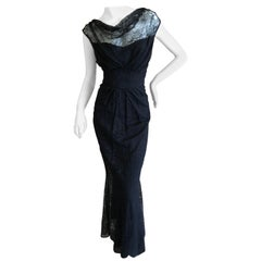 John Galliano Vintage 90's  Black Lace Sleeveless Evening Dress