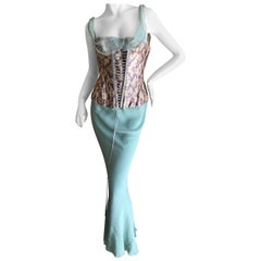 John Galliano Vintage Bias Cut Full Corseted Evening Dress w Lace Up Details