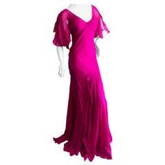 John Galliano Vintage Bias Cut Hot Pink Silk Evening Dress Hard to find Sz 46