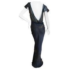 John Galliano VIntage Bias Cut Lace Trimmed Tie Dye Silk Evening Dress