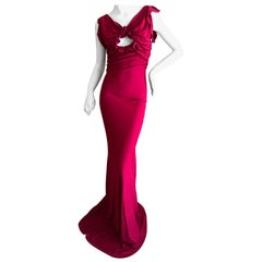 John Galliano Vintage Bias Cut Red Evening Dress with Keyhole Details