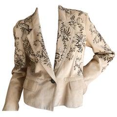 John Galliano Buff Wildleder Vintage Jacke mit Metallarbeiten Stickerei Details