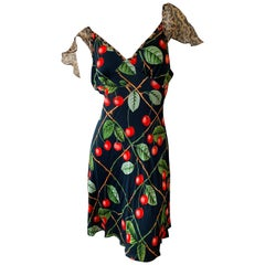 John Galliano Vintage Cherry Print Dress with Leopard Print Details