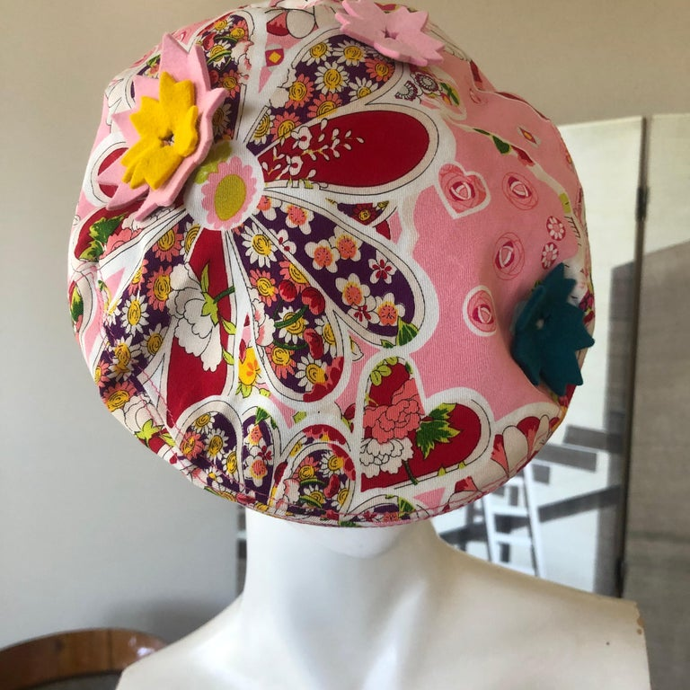 Women's or Men's John Galliano Vintage Floral Applique Newsboy Cap by Stephen Jones For Sale