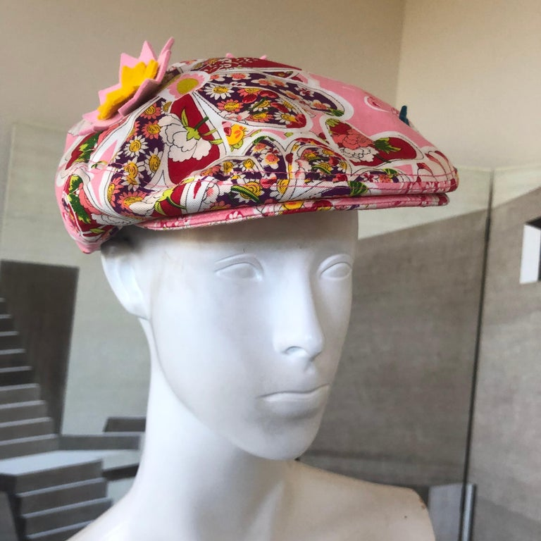 John Galliano Vintage Floral Applique Newsboy Cap by Stephen Jones For Sale 1