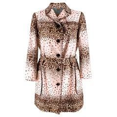 John Galliano Vintage Pink Leopard Print Trench Coat M 44