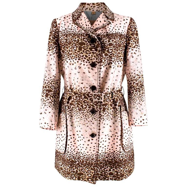 John Galliano Vintage Pink Leopard Print Trench Coat - Size US 8