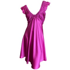 John Galliano Vintage Pink Low Cut Dress with Gathered Details