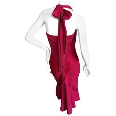 John Galliano Vintage Red Cocktail Dress With Tassel Tie Back