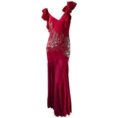 John Galliano Vintage Red Silk Evening Dress with Cowl Back and Silver Beading
