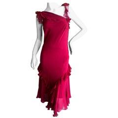 John Galliano Vintage Red Silk Ruffle Trim Cocktail Dress