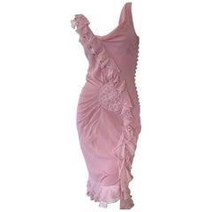 John Galliano Vintage Rose Pink Ruffled Bias Cut Dress