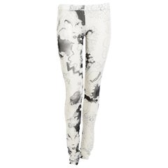John Galliano vintage see-through printed mesh leggings.