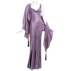 John Galliano violet crepe-backed satin evening dress and shawl, ss 2000