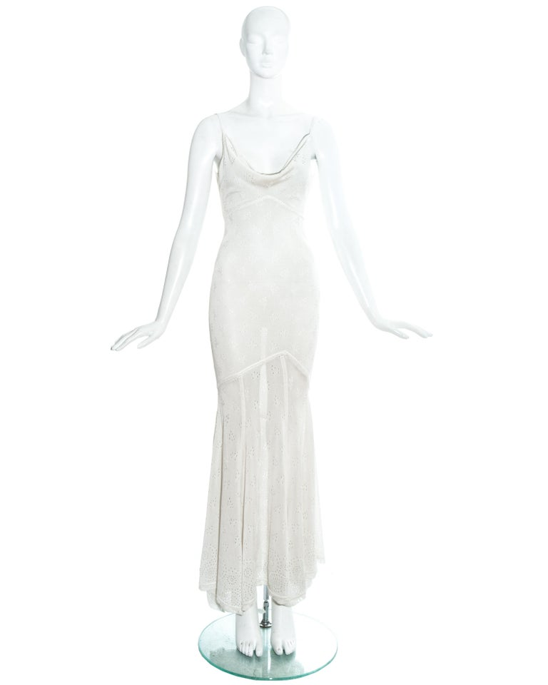 John Galliano crochet knitted maxi dress with low back and cowl neckline.  Spring-Summer 2000
