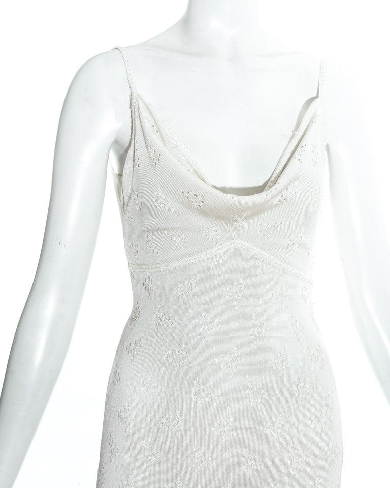 Gray John Galliano white crochet knitted maxi dress, ss 2000 For Sale