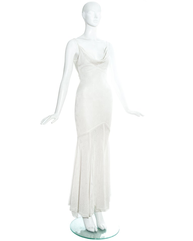 John Galliano white crochet knitted maxi dress, ss 2000 In Good Condition For Sale In London, GB