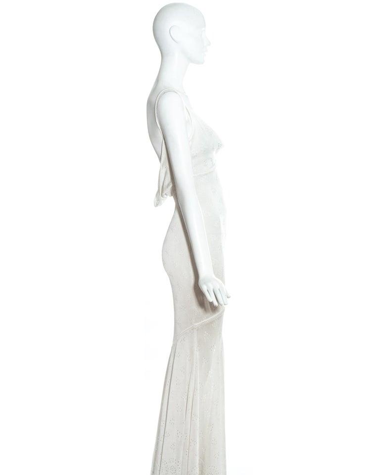 Women's John Galliano white crochet knitted maxi dress, ss 2000 For Sale