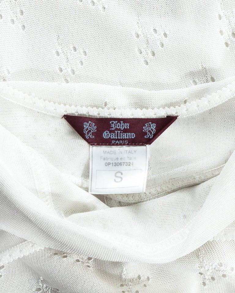 John Galliano white crochet knitted maxi dress, ss 2000 For Sale 3