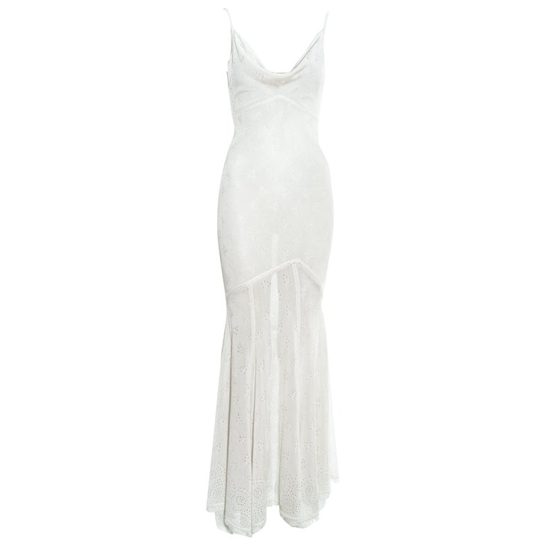 John Galliano white crochet knitted maxi dress, ss 2000 For Sale