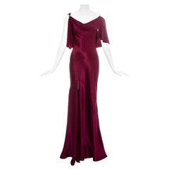 John Galliano wine red satin bias cut evening dress, fw 1999