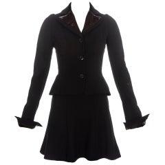 John Galliano wool and velvet skirt suit fw 1996