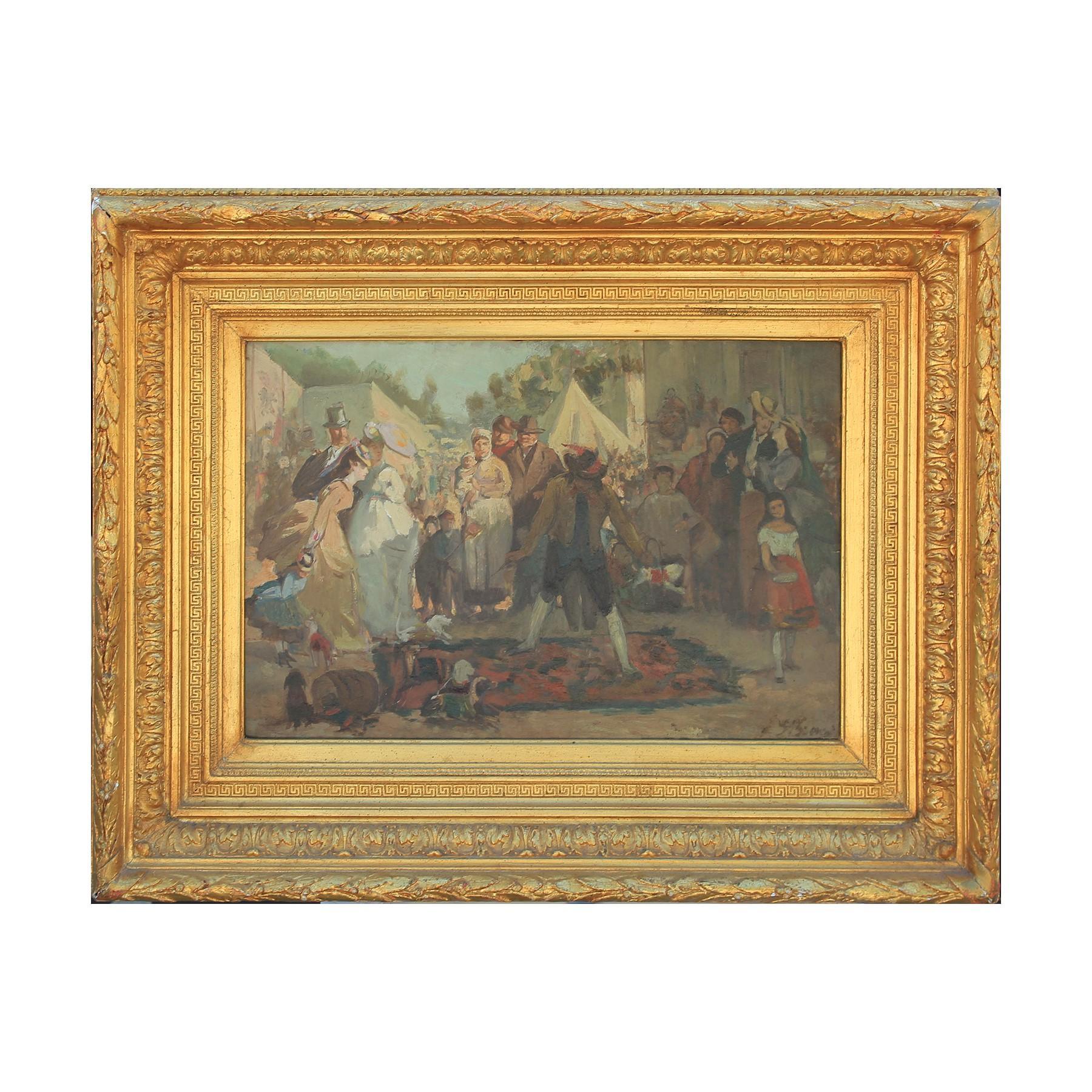 American Impressionist Street Scene Oil Painting