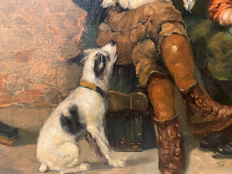 Shoeshine Boys with a Dog 1897 - Brown Figurative Painting by John George Brown