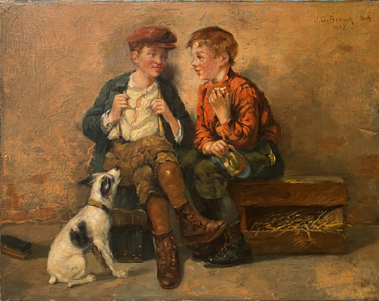 Shoeshine Boys with a Dog 1897 - Painting by John George Brown