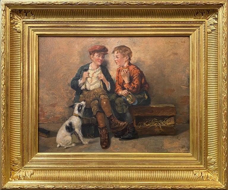 John George Brown Figurative Painting - Shoeshine Boys with a Dog 1897