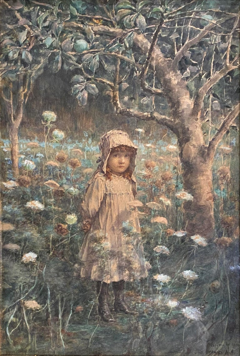 Young Girl in the Woods - Painting by John George Brown