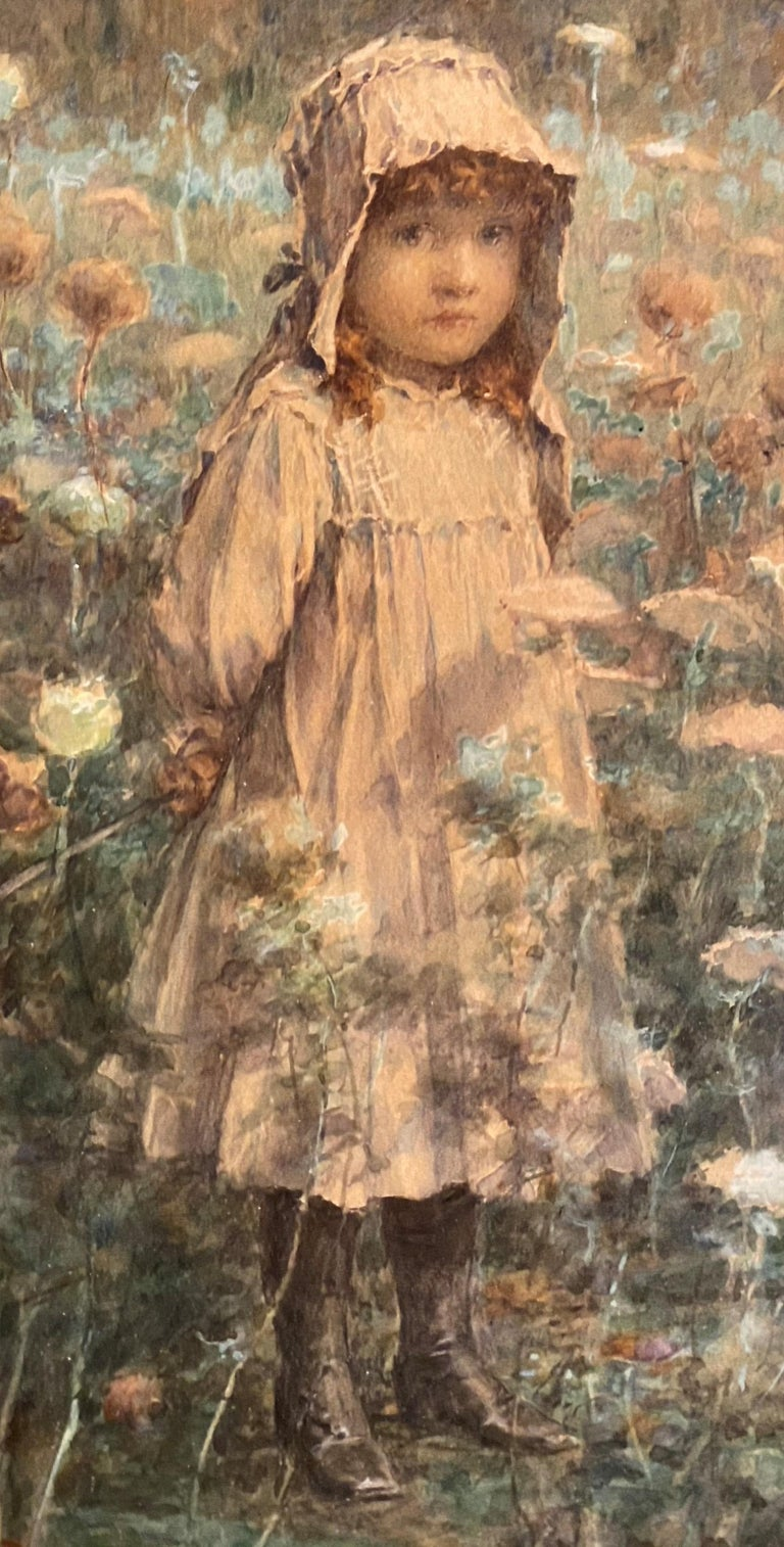 Young Girl in the Woods - Impressionist Painting by John George Brown