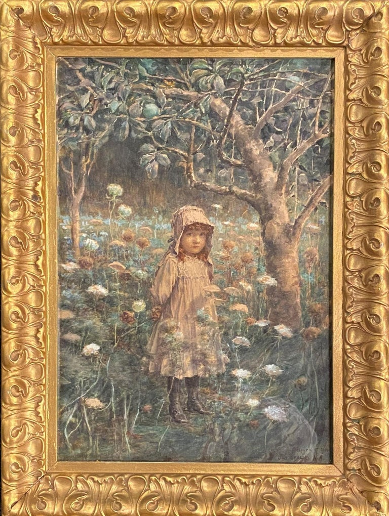John George Brown Figurative Painting - Young Girl in the Woods