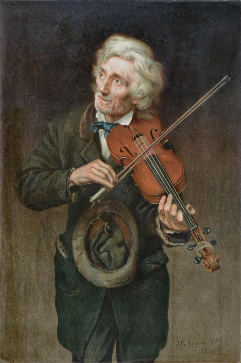 Old Violinist - Late 19th Century Figurative Lithograph - Print by John George Brown