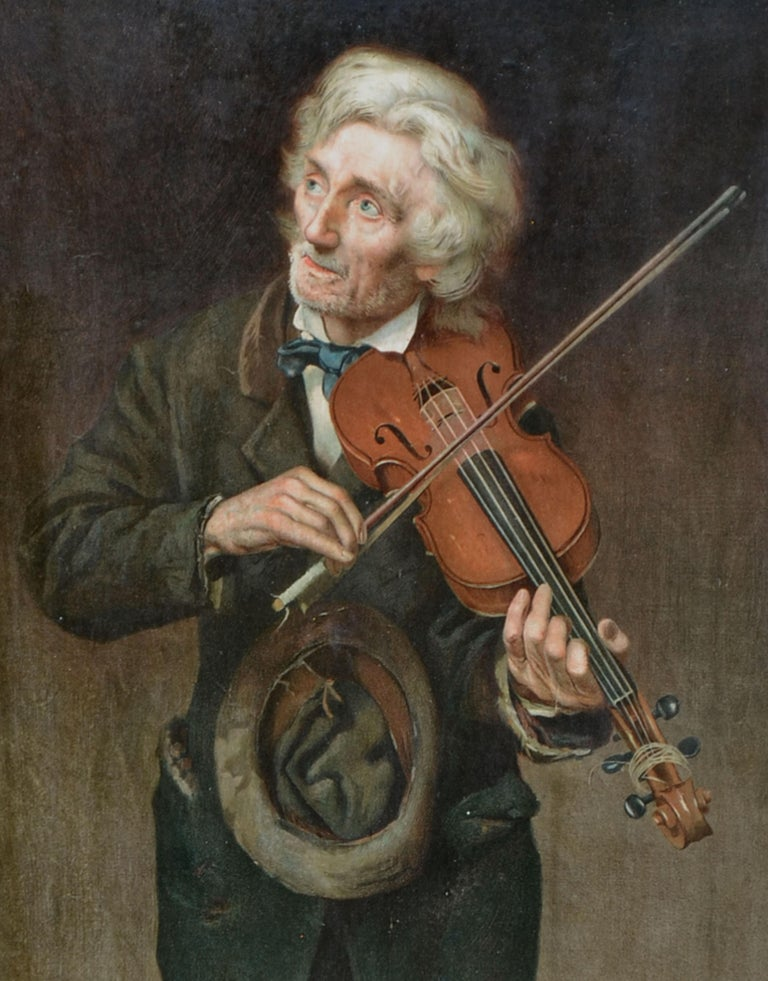 Old Violinist - Late 19th Century Figurative Lithograph - Realist Print by John George Brown