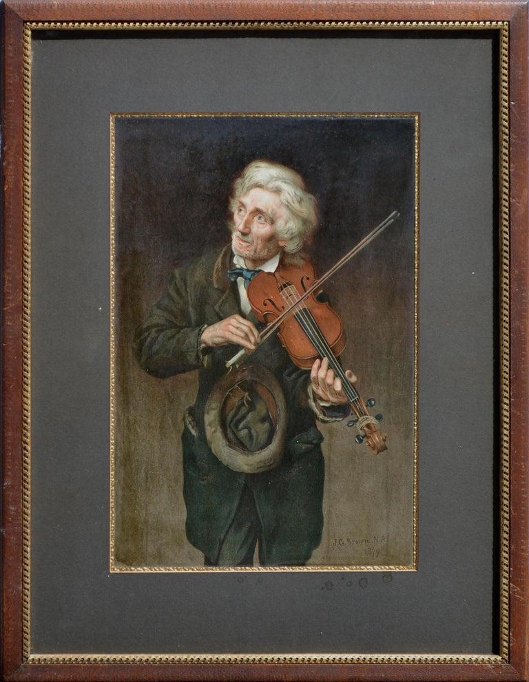 John George Brown Figurative Print - Old Violinist - Late 19th Century Figurative Lithograph