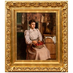 John George Brown, Oil on Canvas Portrait of Girl