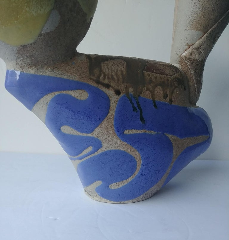 Very nice pottery, ewer, by the well known artist, John Gill, signed, dated 1986.