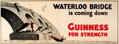 Large Original Vintage Guinness Poster Waterloo Bridge Is Coming Down Drink Ad