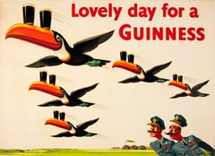 Original Vintage Guinness Poster - Lovely Day For A Guinness - RAF Toucan Design