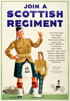 Original Vintage Poster Join A Scottish Regiment Army Military Recruitment Guard