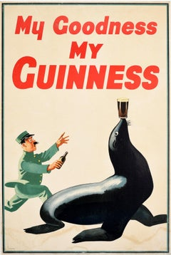 Original Vintage Poster My Goodness My Guinness Sea Lion Balancing Beer Drink