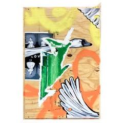 """No Magic Potion"", Oil and Spray Paint on Board, Pop Art, Graffiti, Swans"