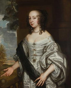 English 17th century portrait of a lady in an ivory silk gown on a terrace