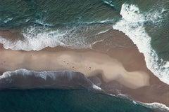 Sand Bar & Waves - Martha's Vineyard (Aerial Beach Landscape Photograph)